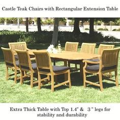 "New 9Pc Grade-A Teak Outdoor Dining Set-83""X40"" Rectangle Double Extension Table + 2 Arm & 6 Side Castle Chairs & Cushions by Bayview Patio. $3260.00. Shipped in 5 days. Curb side freight delivery in approximately 12 days. Little assembly required. Extra Thick (1.4""table top, legs 2.5"") Oval Double extension table is (83X40X)inch (LXWXH). Tenon construction using Indonesian Grade-A Kiln Dried teak wood. FSC certified manufacturer. Table is 63/73/83(L)X40(W)inches (NO/..."