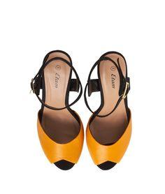 Sandales à talons - SASHA - NOIR/MOUTARDE - Etam