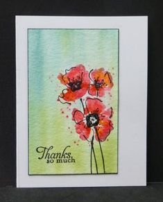 *CAS276  Poppies - Rubbernecker stamps again!  Background done with reinkers and water brush on dampened cardstock