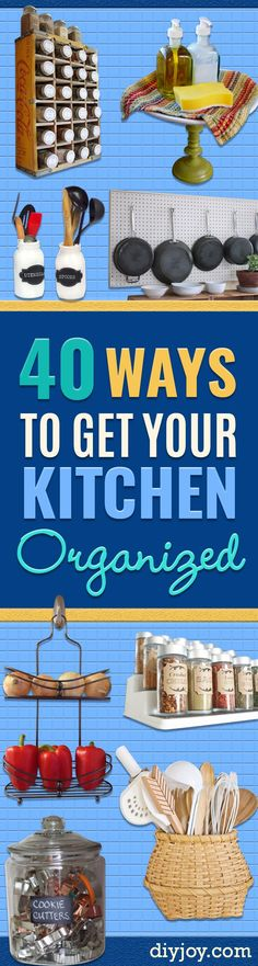 DIY Organizing Ideas for Kitchen - Cheap and Easy Ways to Get Your Kitchen Organized - Dollar Tree Crafts, Space Saving Ideas - Pantry, Spice Rack, Drawers and Shelving - Home Decor Projects for Men and Women Diy Organizer, Kitchen Organization, Organized Kitchen, Organizers, Storage Organization, Diy Projects For Men, Diy For Men, Kitchen Storage Hacks, Diy Storage