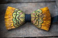 Brackish pheasant feather bowtie