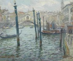 Christie's Amsterdam-Ponte Rialto, Venice I have a companion work to this. Sold for $4087 on 9/4/2012 8.66 by 10.63  Oil on wood