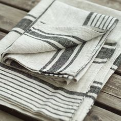 Set of 2 Natural Black Striped Linen Hand and Guest Towels Provence