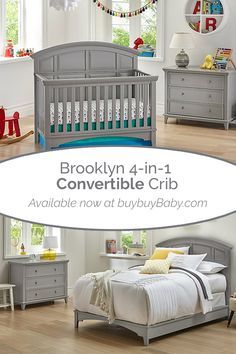 The Brooklyn Convertible Crib grows with your baby as they graduate from crib to toddler bed to daybed to FULL-SIZE bed (accessories sold separately). The smooth gray color will add a touch of class to your little one's nursery and never go out of Nursery Furniture, Nursery Decor, Grey Crib, Preparing The Nursery, Getting Ready For Baby, Convertible Crib, Crib Mattress, Luxury Bedding, Cribs
