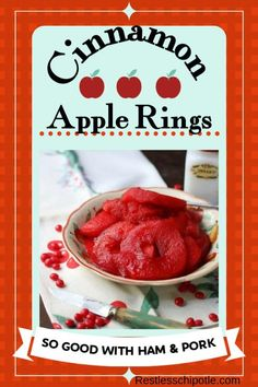 Spiced apple rings recipe is SO easy! Tangy apples are simmered in a bright red simple syrup made with cinnamon candies. So good with pork dishes for fall! Spiced Apple Rings Recipe, Spiced Apples, Fresh Apples, Banana Bread Recipes, Fruit Recipes, Apple Recipes, Dishes Recipes, Potluck Recipes, Family Recipes