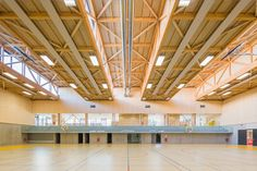 Completed in 2015 in Rillieux-la-Pape, France. Images by 11h45. The Hacine Cherifi gymnasium (1) forms part of the same development as the Paul Chevallier schools complex, another Tectoniques project for the town...