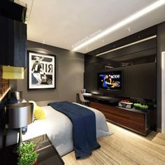 Home office design for men masculine bedrooms ideas for 2020 Modern Bedroom, Home Bedroom, Bedroom Interior, Home Office Design, Bedroom Design, Home Room Design, Home Office Bedroom, Bedroom Setup, Luxury Bedroom Master