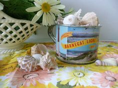 Fun Vintage Souvenir Tin Cup/Mug From Barnegat Light, New Jersey - Beach/Cottage Decor by MossyCottage on Etsy