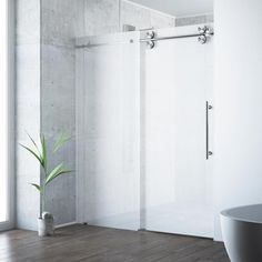 VIGO Elan 56 to 60 in. x 74 in. Frameless Sliding Shower Door in Stainless Steel with Frosted Glass Right Side Door VIGO Elan 56 to 60 in. x 74 in. Frameless Sliding Shower Door in Stainless Steel with Frosted Glass Right Side Door - The Home Depot Vigo Shower Doors, Frameless Sliding Shower Doors, Glass Shower Doors, Sliding Doors, Barn Doors, Glass Doors, Wood Doors, Front Doors, Framed Shower Door