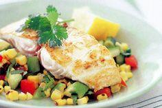 Ocean trout with coriander potato salad