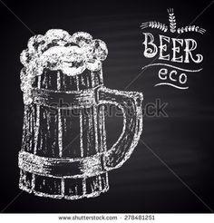 Chalk painted illustration of full wooden beer mug. Eco beer theme.