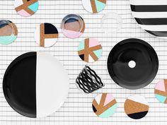 DIY Memphis-inspired coasters // IKEA