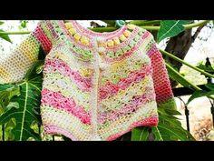 Suetercito de Niña a Crochet de 1 a 2 Años - YouTube