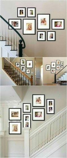 birthdays with memories Awesome staircase photo galleries! Where would you put a wall gallery in your house? Where would you put a wall gallery in your house? Gallery Wall Layout, Stairway Gallery Wall, Stair Gallery, Gallery Gallery, Photo Wall Layout, New Wall, Frames On Wall, Picture Frames On The Wall Stairs, Picture Wall Staircase