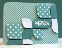 "cute design.  4 1/4"" x 5 3/4"" card; cut 4 @ 1x1; 5 @ 1.5""x1.5""; 1 @ 1""x2"" for sentiment. round opposite corners on card and cuts."