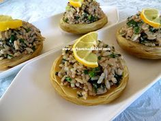 Tableware and Budgerigar: Stuffed Artichoke food list ohne kohlenhydrate carbohydrates carb kohlenhydrate kohlenhydrate rezepte Low Carb Recipes, Snack Recipes, Snacks, Vegetarian Recipes, Turkish Recipes, Ethnic Recipes, Artichoke Recipes, Side Dishes, Food And Drink