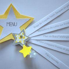 Menu étoile gris jaune - baptême, anniversaire, communion, mariage