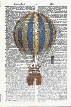 Items similar to AIR BALLOON - Vintage Dictionary Print Beautiful Antique Air Ballon Wall Room Home Decoration Art Interior Design to Frame on Etsy Air Ballon, Hot Air Balloon, Decoupage, Book Page Art, Printed Balloons, Halloween Quilts, Dictionary Art, Ad Art, Art Prints