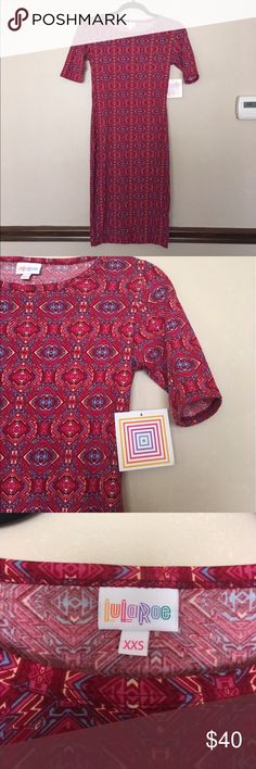 LuLaRoe Julia Dress NWT Pink Julia dress with multi-colored geometric pattern.  So fun and pretty for spring!!  NWT LuLaRoe Dresses