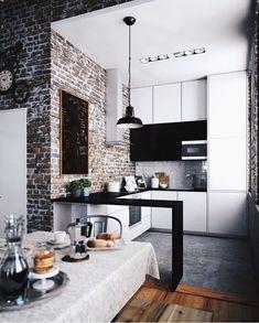 Kitchen. Brick wall.