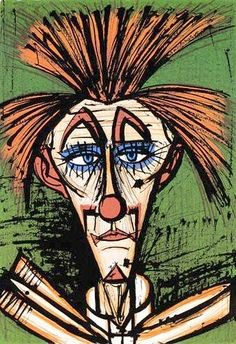 Bernard Buffet - Clown fond vert - 1978 lithograph - 76 x 53.5 cm                                                                                                                                                                                 Plus
