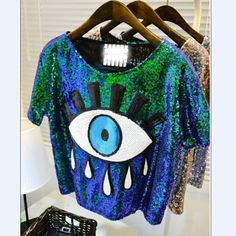 womens tops fashion 2015 New crop tops loose summer short tops Sequins Big Eye sexy Sequined eyes T-shirt casual Free Shipping #Dresses #Tees