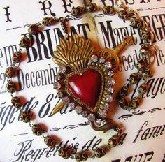 Antique rosary necklace milagro sacred heart ex voto sword jeweled rhinestone religious Catholic jewelry assemblage one of a kind by madonnaenchanted on Etsy