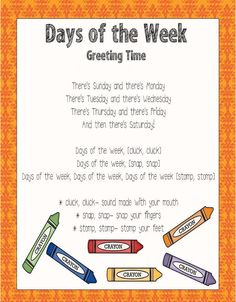 Days of the Week sing to the tune of The Adam's Family Song (find on youtub. Kindergarten Songs, Preschool Music, Preschool Lessons, Preschool Classroom, Preschool Learning, Preschool Activities, Early Learning, Preschool Schedule, Color Songs Preschool