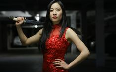 Download wallpapers Genevieve Doang, french actress, beauty, red dress, asian girls