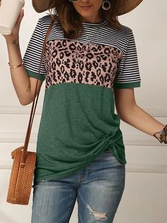 Leopard Print Striped Twisted Short Sleeve T-shirt Leopard Print Shorts, Leopard Blouse, Loose Tops, Striped Shorts, Fashion News, Fashion Trends, Shirt Style, Long Sleeve Tops, Clothes For Women