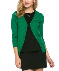 Love this Kelly Green Three-Quarter Sleeve Cardigan - Plus on #zulily! #zulilyfinds