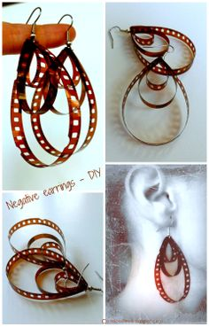 Use old negatives to make earrings... super-simple DIY