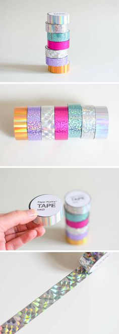 Shiny holographic tape found on Etsy! Sooo many craft ideas for this... card making, bullet journal, decorating, wrapping cute pressies. You could add it round the edge of boxes and accessories to make a mermaid themed sparkly room! #ad #tape #crafts #shiny