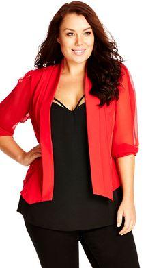 City Chic Coloured Drapey Blazer Jacket - Women's Plus Size Fashion City Chic…