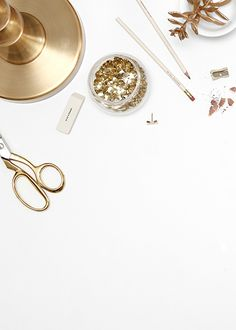 Product styling and photography by Shay Cochrane. www.shaycochrane.com Gold desk, gold desktop accessories, gold office supplies, stock photography, photography for small business owners, desktop vignette, gold scissors, acrylic tape dispenser, Russell + hazel, gold paperclips, gold confetti, office style, Kate spade bow pushpins, gold washi tape, gold lamp