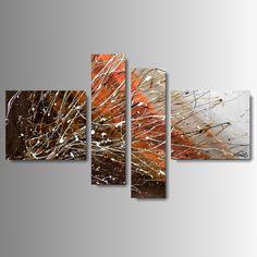 Produzione Quadri moderni astratti - 100% dipinti a mano. Quadri Moderni Astratti Toni del marrone, vengè, beig, tortora, arancione, bianco