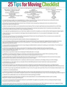 25 Tips for Moving Successfully and With Sanity + Free Printable Moving Checklist : Preparing for a move is hard, and stressful! Ease your stress with these tips for moving, as well as a free printable moving checklist. Moving Checklist Printable, Moving Out Checklist, Moving List, Moving House Tips, House Cleaning Checklist, Moving Home, Moving Day, Moving Hacks, Checklist Template