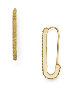 Rebecca Minkoff Mini Pave Safety Pin Drop Earrings