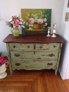 D.D.'s Cottage and Design: Green Chippy Milk Paint Dresser
