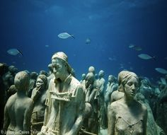 Museo Subacuatico de Arte, Mexico: This underwater installation in the warm Caribbean water of the Riviera Maya has more than 403 permanent life-size sculptures made from specialized material that promotes coral life. In addition to providing snorkelers and scuba divers with an eerie, exciting subaquatic experience, Jason deCaires Taylor's four-part series diverts the Cancun Marine Park's annual 750,000 visitors away from natural reefs to allow them to recover