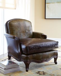 Old Hickory Tannery Antiqued-Brown-Leather Chair - Horchow