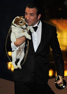 """Jack Russel Terrier ,Uggie at the Oscars 2012 for best picture """"The Artist"""""""