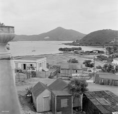 A view of small houses near the beach in Charlotte Amalie, St. Thomas, US Virgin Islands.