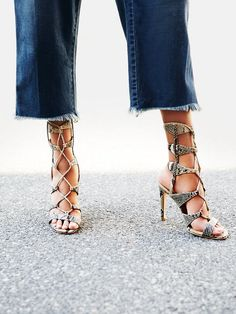 Snake Print Lace Up Heels