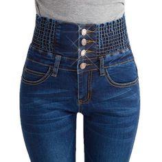 High Waist Skinny Jeans Women Fashion Button Slim Plus Size Denim Trousers Pencil Pants Clothing Color Blue Black D15