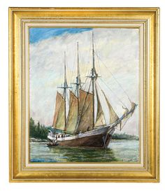 Lot 118: Paintings of Ship by A.W. Knauth. On website. Labeled as coming from my house. On hand-written receipt.