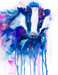 Original Watercolour Painting- Badger animal, illustration, animal watercolor, by SlaviART on Etsy https://www.etsy.com/listing/175392521/original-watercolour-painting-badger