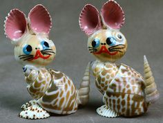 """Mouse over image to zoom Have one to sell? Sell it yourself Small 3""""Ht Set 2 Pcs Beautiful Cats Sea Shell Figurines Indian Collectable Décor"""
