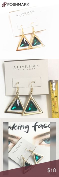🎁NEW🎁Gold Tone Emerald Green Dangling Earrings New with tag ALI KHAN New York Earrings. Emerald color piece in the middle free floats in the center of a gold tone triangle. Pretty. See pic for dimensions.  Follow @fashionista21 Bought at Macy's Ali Khan  Jewelry Earrings