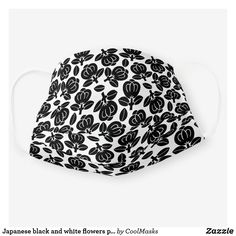 Japanese black and white flowers pattern cloth face mask Pimples On Face, Cool Face, Black And White Flowers, Black Mask, Shape Of You, Clothing Patterns, Snug Fit, Sensitive Skin, Japanese